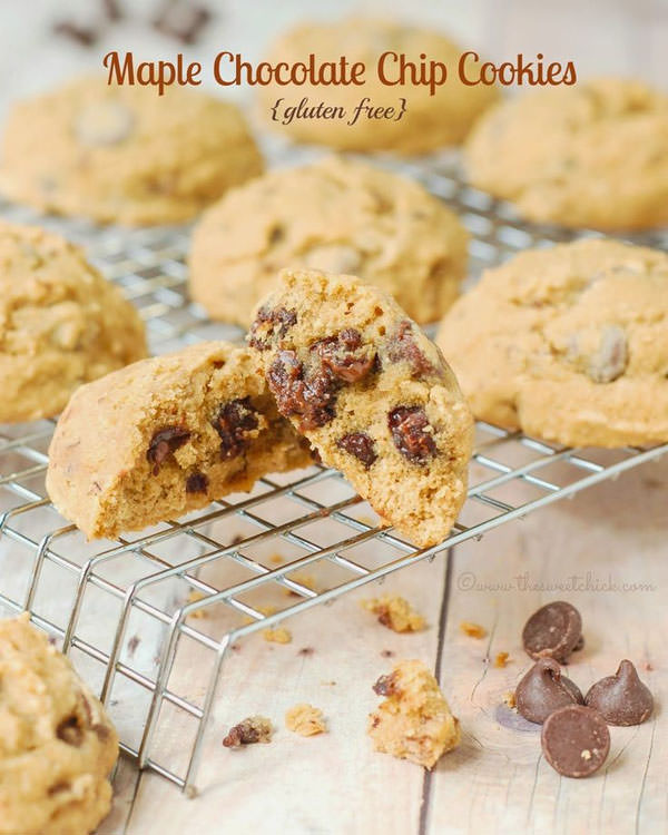 Gluten Free Maple Chocolate Chip Cookies from The Sweet Chick {25 Thanksgiving Dessert Recipes from OneCreativeMommy.com}