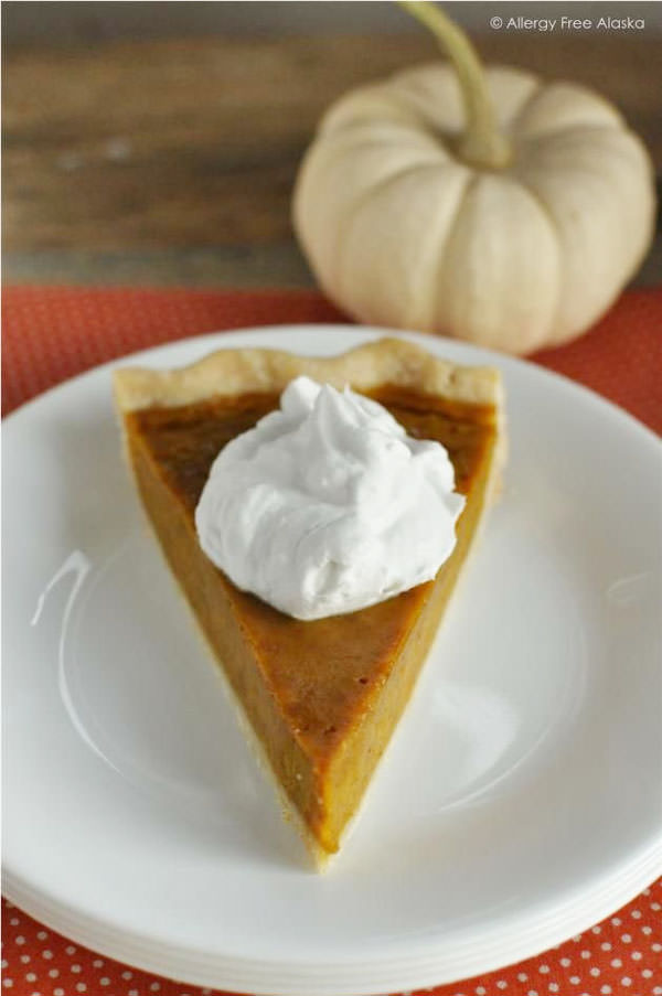Gluten & Dairy Free Maple Pumpkin Pie from Allergy Free Alaska {25 Thanksgiving Dessert Recipes from OneCreativeMommy.com}