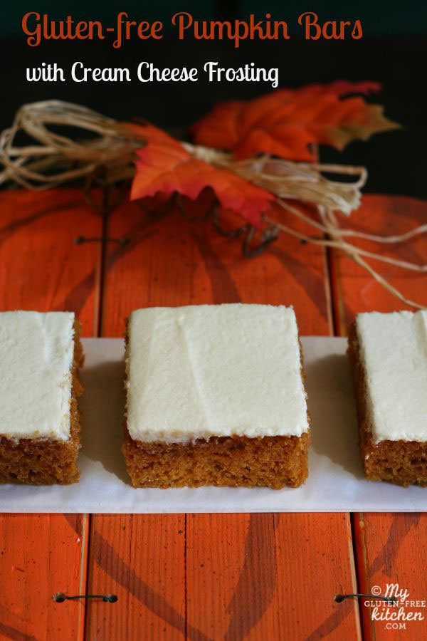 Gluten Free Pumpkin Bars with Cream Cheese Frosting from My Gluten-Free Kitchen {25 Thanksgiving Dessert Recipes from OneCreativeMommy.com}