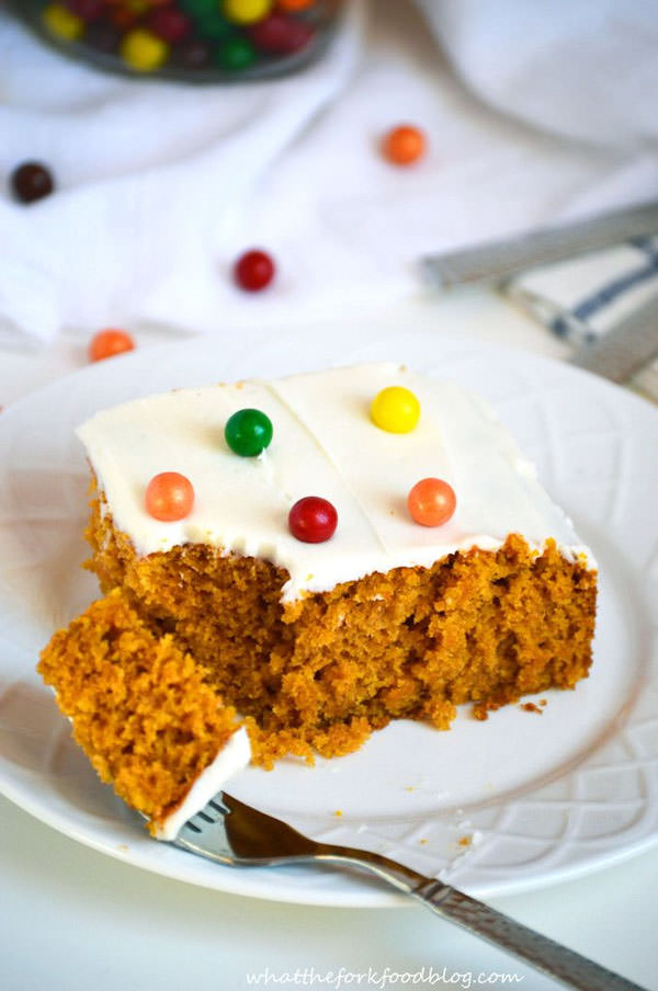 Pumpkin Cake from What the Fork Food Blog {25 Thanksgiving Dessert Recipes from OneCreativeMommy.com}