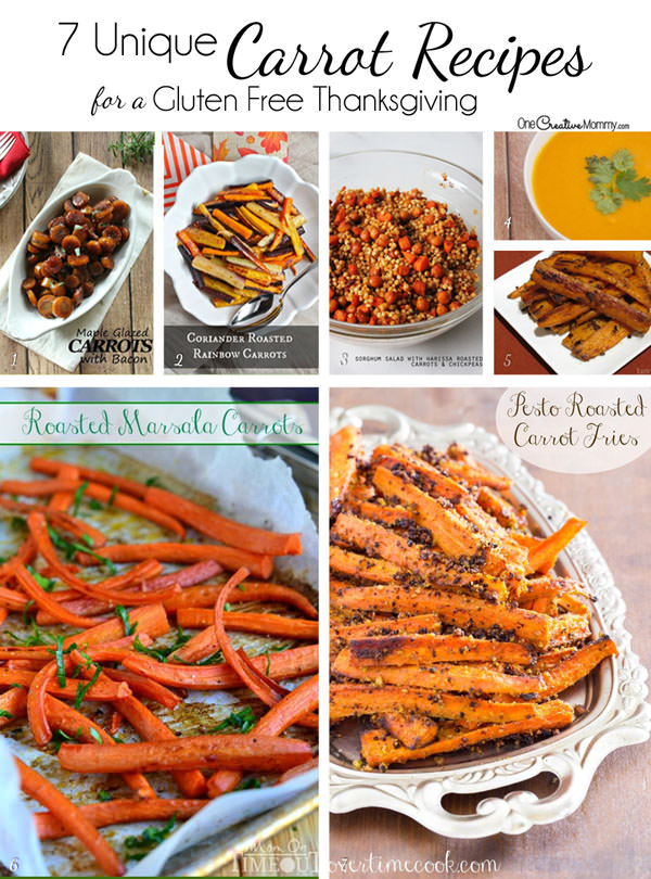 Jazz up Thanksgiving and Christmas Dinner with 7 Super Carrot Side Dish Recipes {Gluten Free Thanksgiving on OneCreativeMommy.com}