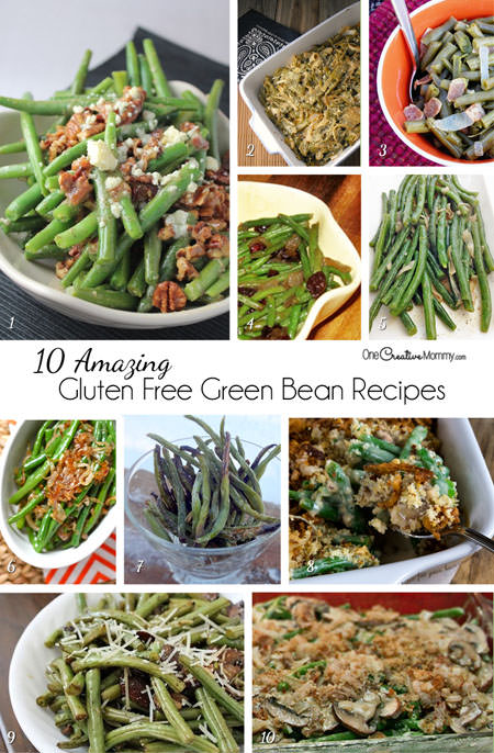 10 Delicious Green Bean Casserole and Side Dish Recipes for your Gluten Free Thanksgiving or Christmas Dinner {OneCreativeMommy.com}