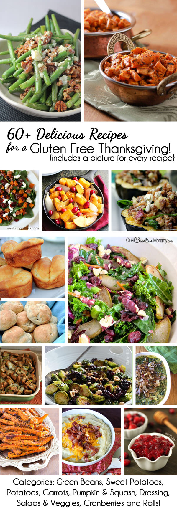 60+ Delicious Recipes for a Gluten Free Thanksgiving {OneCreativeMommy.com} Arranged by category with a photo for every recipe! Plan your meal today.