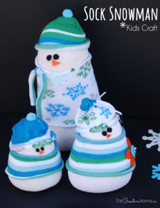 Do you want to build a snowman?  Forget the snow, and grab some socks to create an adorable sock snowman instead! {Christmas kids craft or Winter decor? You choose!} OneCreativeMommy.com