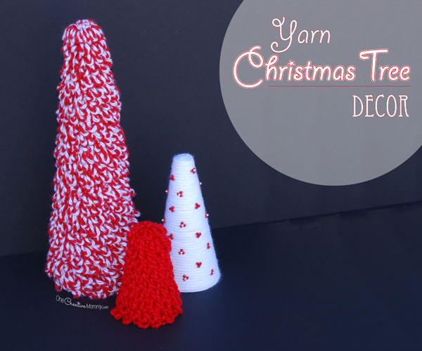 Easy Yarn Christmas Tree Decor {OneCreativeMommy.com} DIY Christmas Decorating Ideas