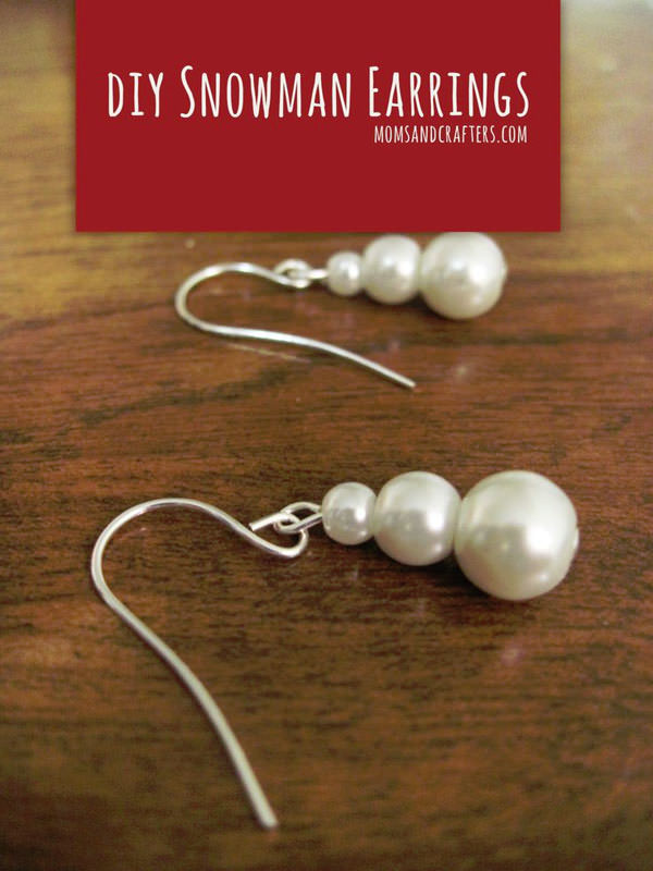 DIY Snowman Pearl Earrings from Moms and Crafters}