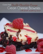 Delicious Double Chocolate Orange Cream Cheese Brownies with Fresh Raspberry Sauce -- You won't believe this amazing dessert is gluten free! {Start with a prepared mix to make these super easy!} OneCreativeMommy.com #Sponsored