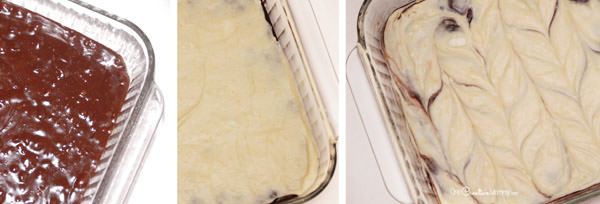 Steps for swirling the layers together in gluten free cream cheese brownies