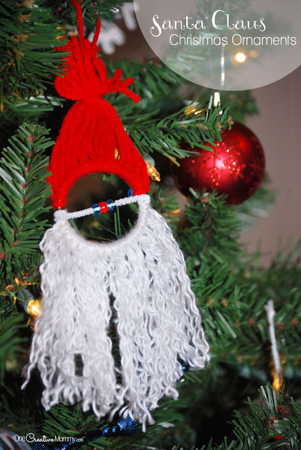 Homemade Christmas Ornaments for Kids {Easy Santa Claus Ornament} Kids love this easy Christmas craft! OneCreativeMommy.com