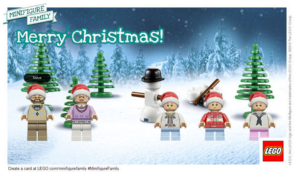 Merry Christmas! You can create your own LEGO Minifigure Holiday Card, too. Kids (and grownups) can customize everything from facial expression to clothing. So fun! #MinifigureFamily #CG