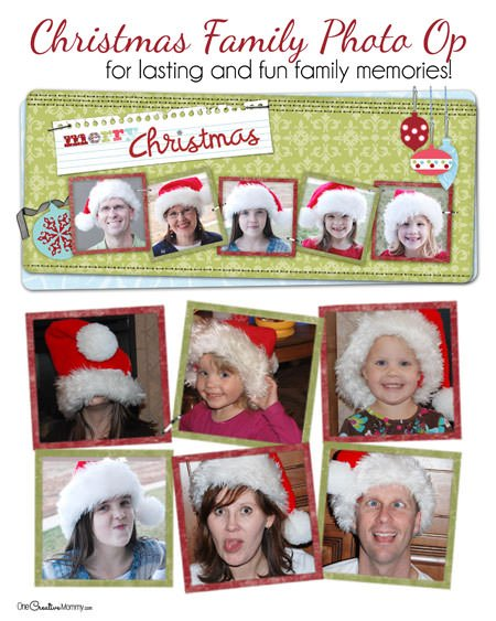 Too hard to get everyone to smile at once? Grab some Santa hats and get silly! Have some Holiday Family Photo Fun! {Christmas Family Picture Idea}