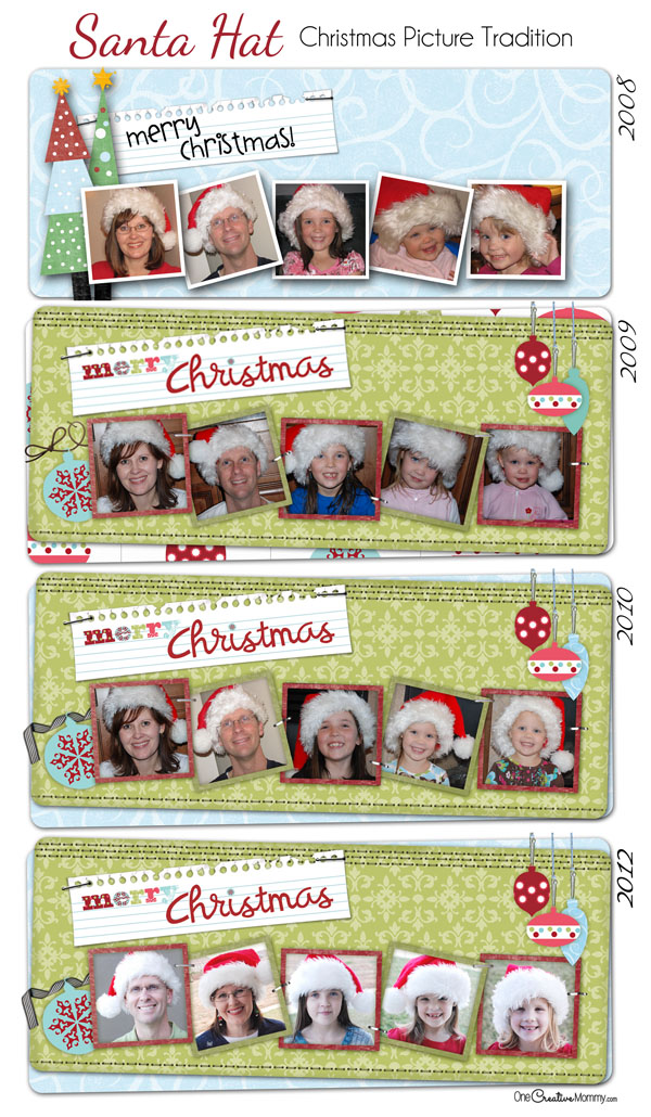 Too hard to get everyone to smile at once? Grab some Santa hats and get silly! Have some Holiday Family Photo Fun! {Christmas Family Picture Idea} OneCreativeMommy.com