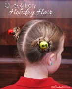 Whip up this quick and easy holiday hair in just a few minutes! {Perfect for school and Christmas parties!} Cute girls' hairstyle from OneCreativeMommy.com