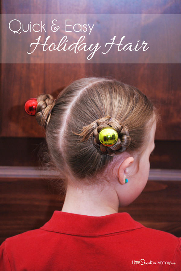 Christmas Hairstyles Easy.Simple Holiday Hair For Girls Onecreativemommy Com
