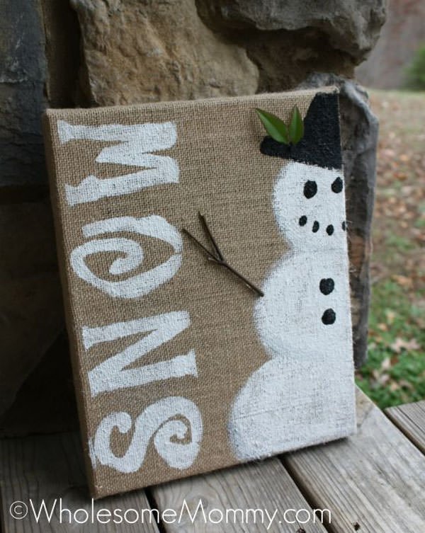 Snowman Crafts and Gift Ideas from OneCreativeMommy.com {Easy Snowman Holiday Decor Canvas Art from Wholesome Mommy}