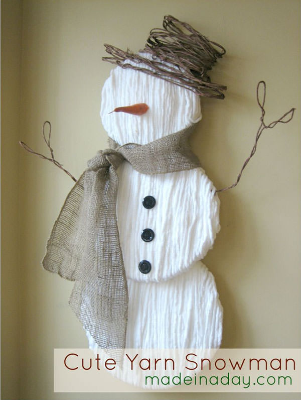 Snowman Crafts and Gift Ideas from OneCreativeMommy.com {Cute Yarn Snowman from Made in a Day}