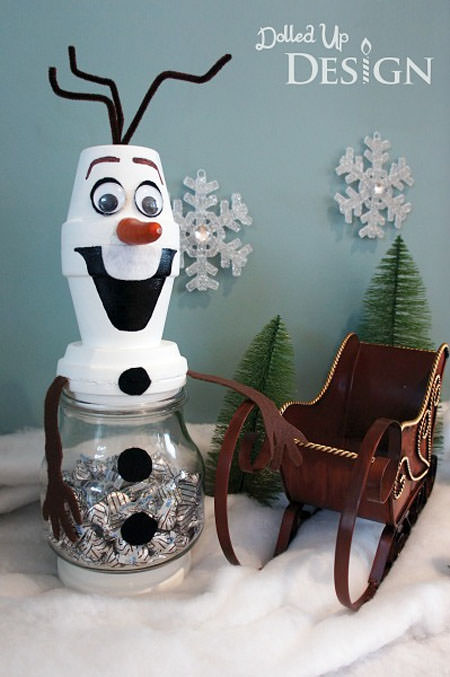 Snowman Crafts and Gift Ideas from OneCreativeMommy.com {Terra Cotta Snowman Treat Jars from Moms and Munchkins}