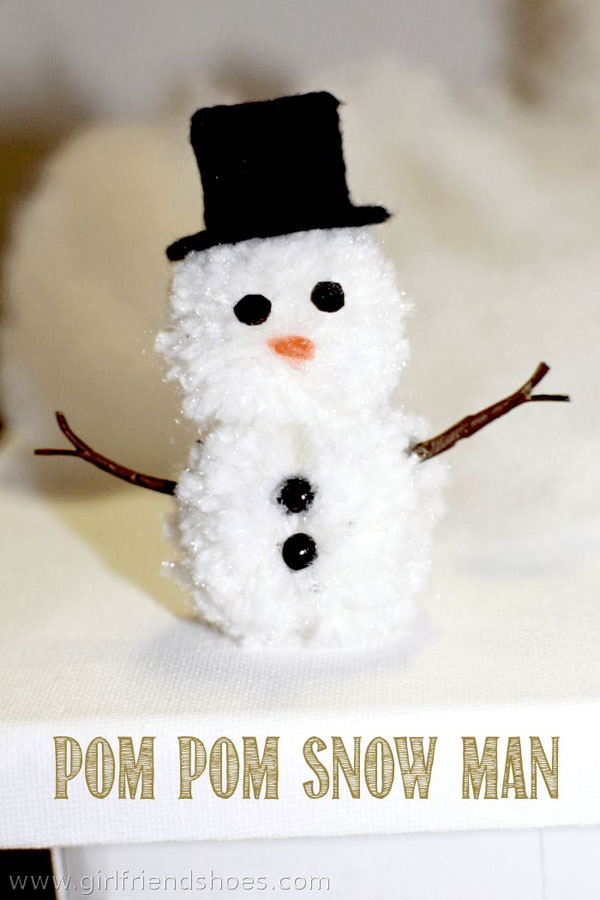 Snowman Crafts and Gift Ideas from OneCreativeMommy.com {Pom Pom Snowman from Girlfriend Shoes}