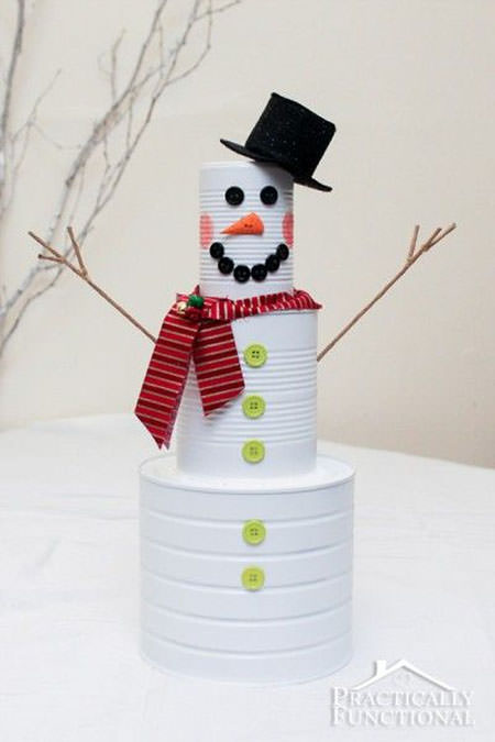 Snowman Crafts and Gift Ideas from OneCreativeMommy.com {Tin Can Snowman from Practically Functional}