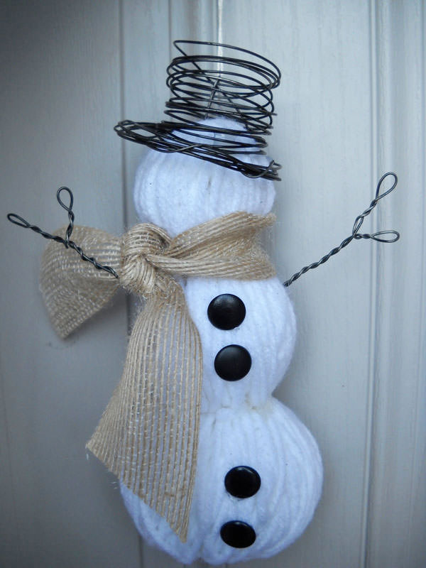 Snowman Crafts and Gift Ideas from OneCreativeMommy.com {Yarn Snowman from Craft Goodies