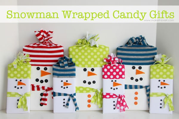 Snowman Crafts and Gift Ideas from OneCreativeMommy.com {Snowman Wrapped Candy Gifts from Make It Love It}