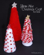 Yarn Tree Christmas Craft for Kids {Have fun creating together, and then display your project every year!} Christmas Decor from OneCreativeMommy.com