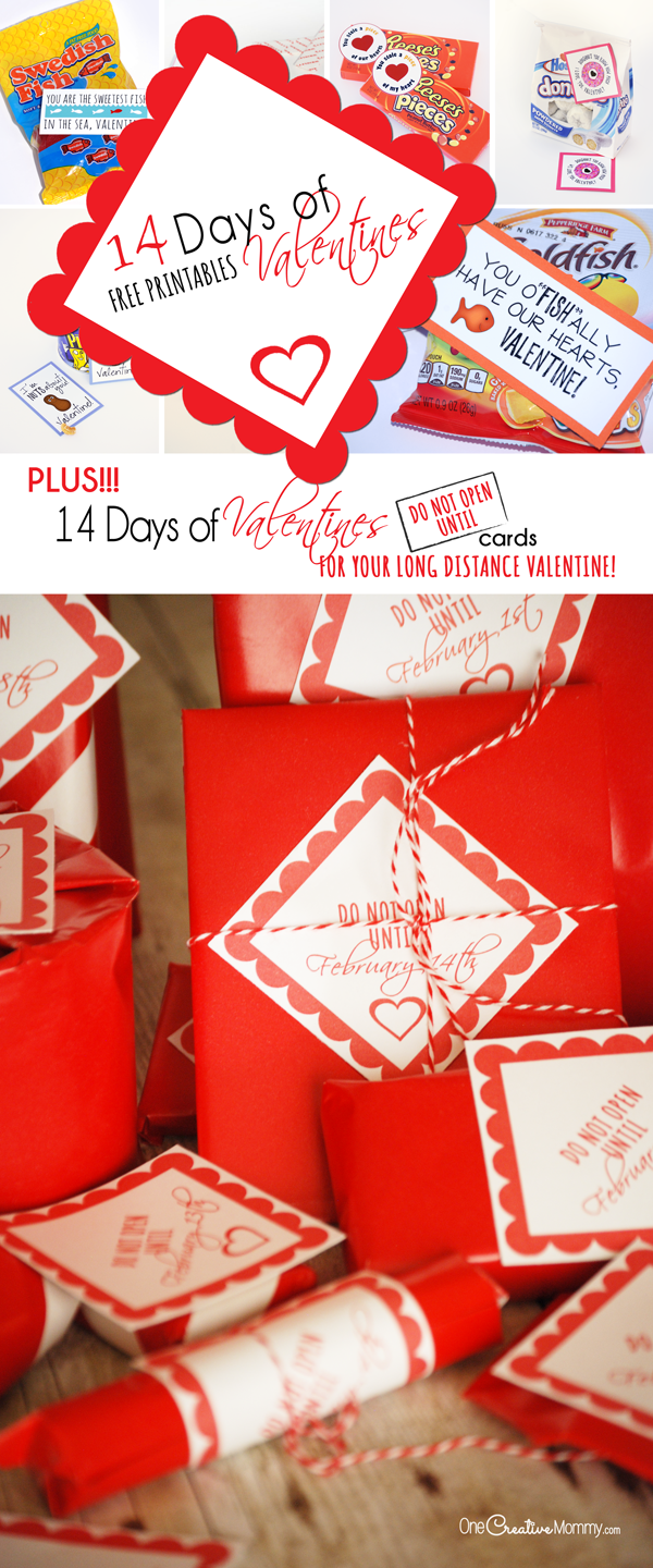 Wow your valentine with 14 days of Valentines! Plus, download {Do Not Open Until} Cards for each gift -- perfect for college students, military spouses, LDS missionaries and any long-distance Valentine! Stop by OneCreativeMommy.com to download all the printables.