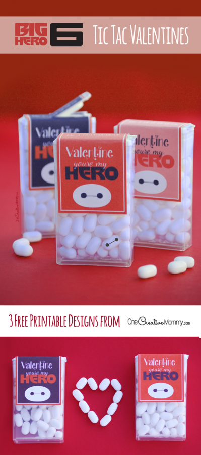 Disney fans are going to love these Big Hero 6 Valentines! Just for fun, use a sharpie to add a face to a tic tac on the box, and you've got a mini Baymax! {Free Printable from OneCreativeMommy.com}