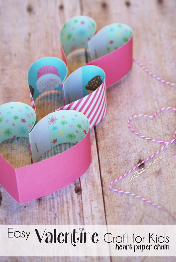 If you need a quick and easy craft to make with your kids for Valentines Day, these Heart Paper Chains are perfect! All you need is paper, a stapler, some string, and your imagination. {Tutorial from OneCreativeMommy.com}