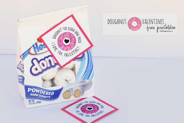 Doughnut you know how much I love you, Valentine? Show your Valentine how much you care with this cute free printable from OneCreativeMommy.com {Two versions included}