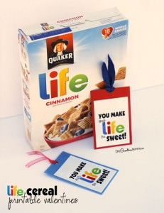 Life Cereal Printable Valentine Bookmarks