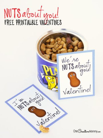 Go nuts this Valentine's Day with this quick and easy printable Valentine. {I'm Nuts About You, Valentine! | We're Nuts About You, Valentine!} Quick and easy Valentine idea from OneCreativeMommy.com