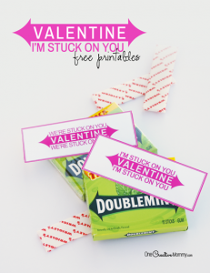 You know you want to make this quick and easy Pun Valentine! {Valentine, I'm Stuck on You! | Valentine, We're Stuck on You!} Just print, cut, and stick on your favorite flavor of gum. That's it! {Free Printable Valentines from OneCreativeMommy.com}