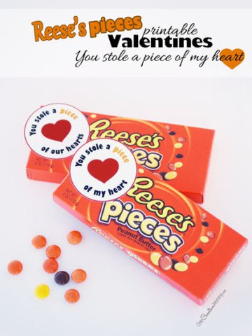 Let your valentine know that they stole a piece of your heart with this cute Valentine printable! Just print, cut, and attach to a box of Reese's Pieces candy {Free Printable from OneCreativeMommy.com}