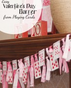 Looking for a quick and easy Valentine decor idea? All you need for this fun Valentine's Day banner is a deck of playing cards, scrap fabric, and baker's twine. {Simple tutorial from OneCreativeMommy.com}