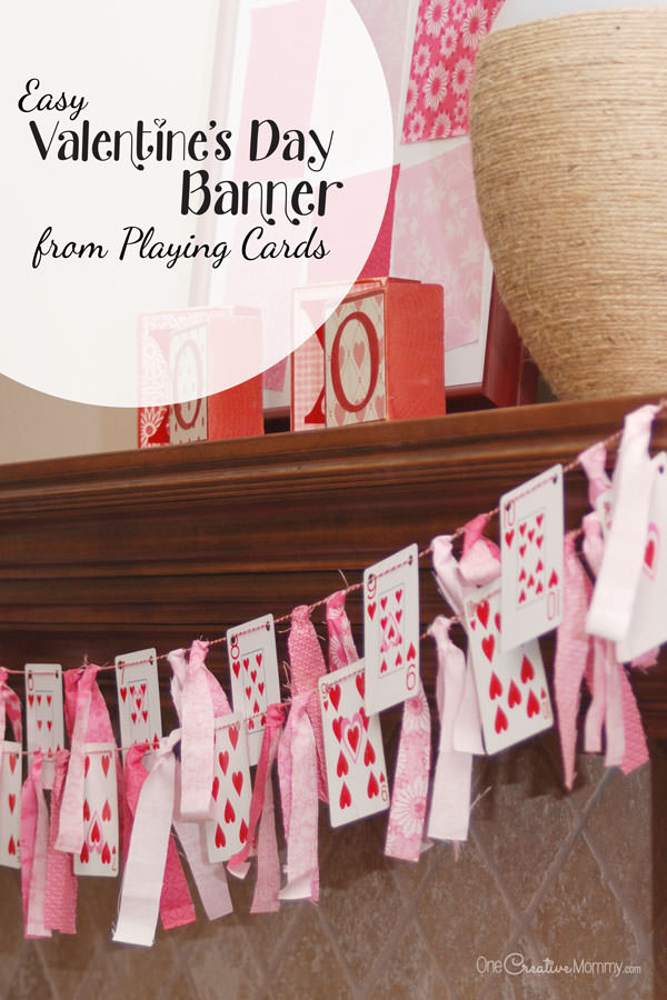Playing Card Valentines Day Banner onecreativemommy – Valentine Playing Cards