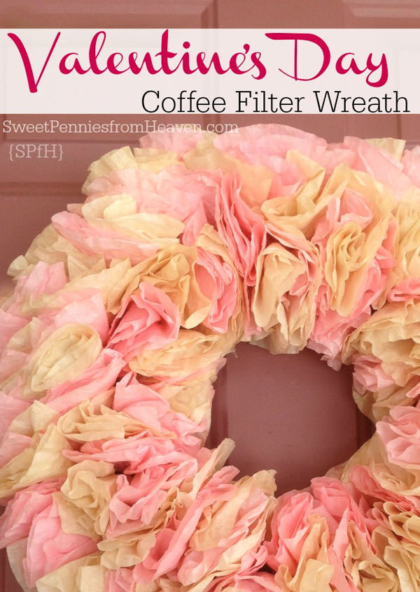 {Coffee Filter Valentine Wreath} One of 25+ Cute Valentine Crafts for Kids rounded up on OneCreativeMommy.com {Come see them all and visit and pin your favorites}