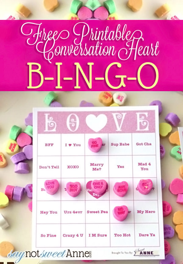 {Conversation Heart Bingo} One of 25+ Cute Valentine Crafts for Kids rounded up on OneCreativeMommy.com {Come see them all and visit and pin your favorites}
