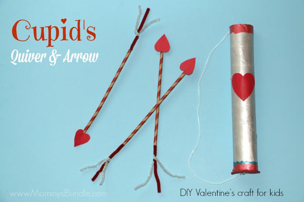 {Cupid Bow & Arrow} One of 25+ Cute Valentine Crafts for Kids rounded up on OneCreativeMommy.com {Come see them all and visit and pin your favorites}