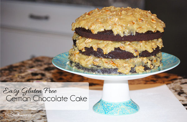 Easy Gluten Free German Chocolate Cake Recipe {Start with a boxed mix. Stop by to learn how to make the cake and the frosting, and then stay for the funny story of how this cake was born.} OneCreativeMommy.com {This cake isn't going to win a beauty contest, but it sure was delicious!}