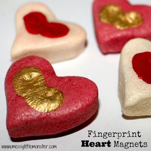 {Salt Dough Fingerprint Heart Magnets} One of 25+ Cute Valentine Crafts for Kids rounded up on OneCreativeMommy.com {Come see them all and visit and pin your favorites}