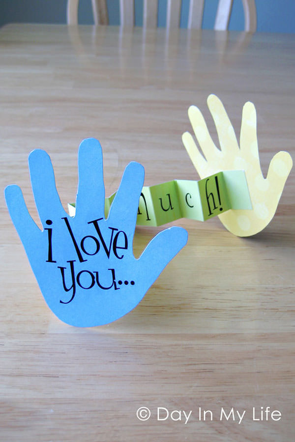 This Hand Print Valentine is one of 25+ Cute Valentine Crafts for Kids rounded up on OneCreativeMommy.com {Come see them all and visit and pin your favorites}