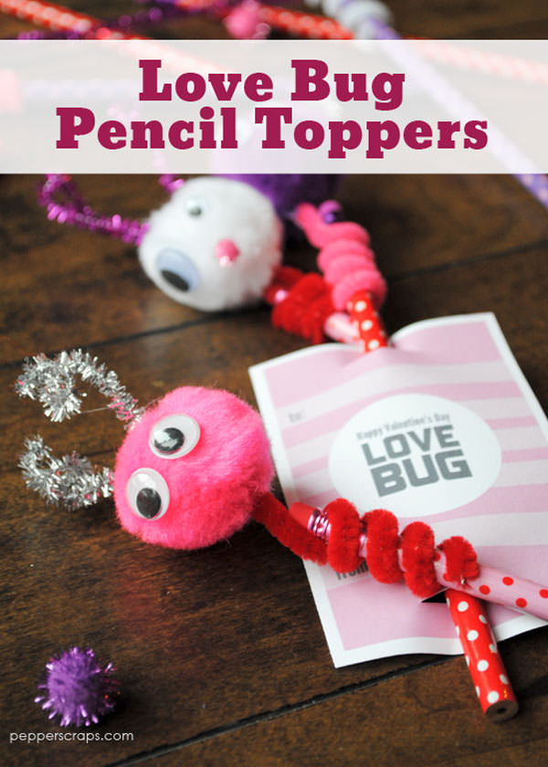 {Love Bug Pencil Toppers} One of 25+ Cute Valentine Crafts for Kids rounded up on OneCreativeMommy.com {Come see them all and visit and pin your favorites}