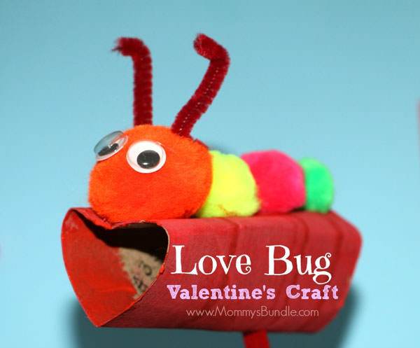 {Love Bug Valentine Craft} One of 25+ Cute Valentine Crafts for Kids rounded up on OneCreativeMommy.com {Come see them all and visit and pin your favorites}