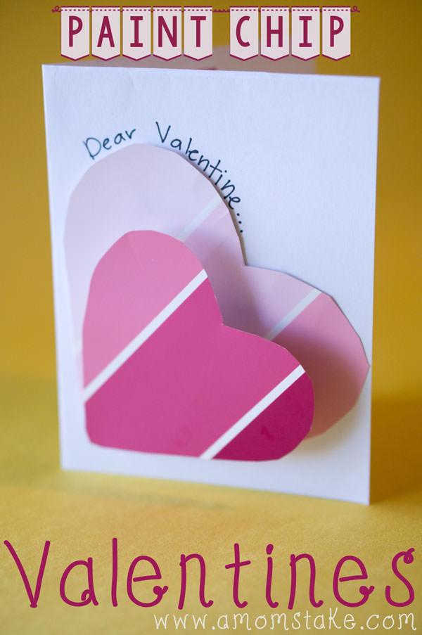 {Paint Chip Valentines} One of 25+ Cute Valentine Crafts for Kids rounded up on OneCreativeMommy.com {Come see them all and visit and pin your favorites}