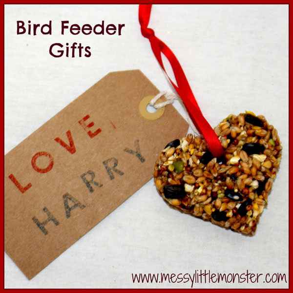 {Bird Feeder Craft} One of 25+ Cute Valentine Crafts for Kids rounded up on OneCreativeMommy.com {Come see them all and visit and pin your favorites}