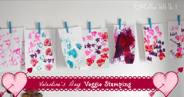 {Valentine Veggie Stamped Cards} One of 25+ Cute Valentine Crafts for Kids rounded up on OneCreativeMommy.com {Come see them all and visit and pin your favorites}