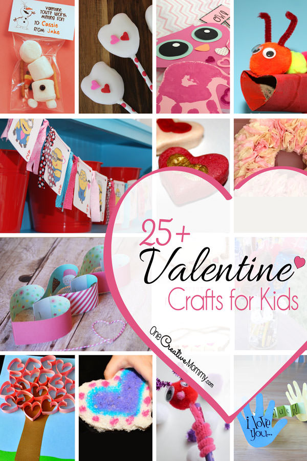 Keep your kids busy and happy with over 25 cute Valentine Craft ideas {See them all on OneCreativeMommy.com} Which kids crafts will your family love?