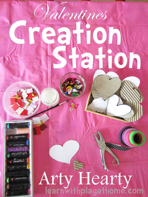 {Valentine Creation Station} One of 25+ Cute Valentine Crafts for Kids rounded up on OneCreativeMommy.com {Come see them all and visit and pin your favorites}