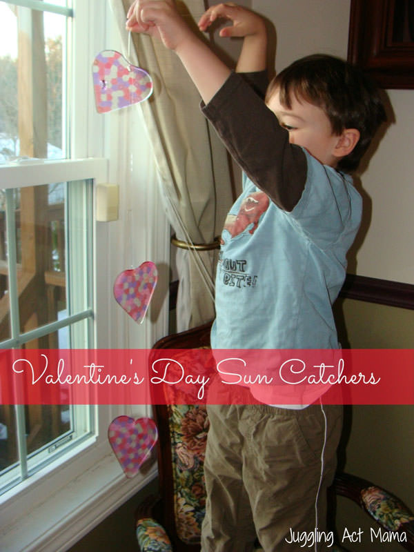 {Valentine Sun Catchers} One of 25+ Cute Valentine Crafts for Kids rounded up on OneCreativeMommy.com {Come see them all and visit and pin your favorites}